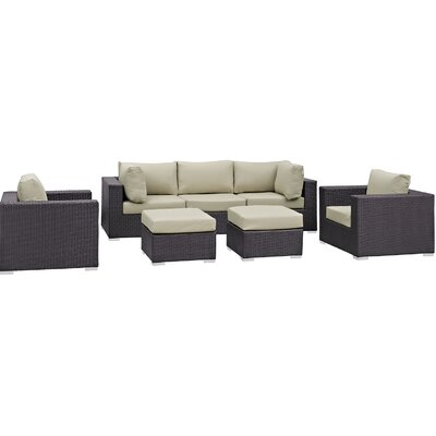 Convene 7 Piece Outdoor Patio Sectional Set with Cushions Fabric: Espresso Beige