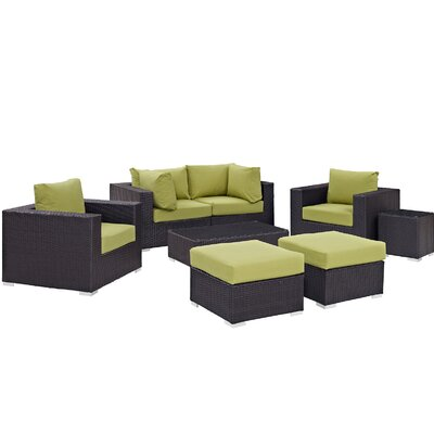 Ryele 8 Piece Outdoor Metal Frame Patio Sectional Set with Cushions Fabric: Espresso Peridot