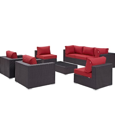 Ryele Contemporary 8 Piece Outdoor Patio Sectional Set with Cushions Fabric: Espresso Red
