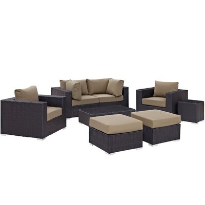 Ryele 8 Piece Outdoor Metal Frame Patio Sectional Set with Cushions Fabric: Espresso Mocha