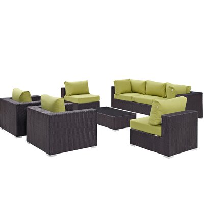 Ryele Contemporary 8 Piece Outdoor Patio Sectional Set with Cushions Fabric: Espresso