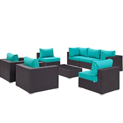 Convene 8 Piece Outdoor Patio Sectional Set with Cushions Fabric: Espresso Turquoise