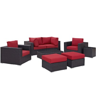 Ryele 8 Piece Outdoor Metal Frame Patio Sectional Set with Cushions Fabric: Espresso Red