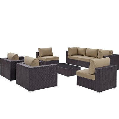Ryele Contemporary 8 Piece Outdoor Patio Sectional Set with Cushions Fabric: Espresso Mocha