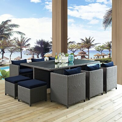 Sojourn 11 Piece Dining Set with Cushions
