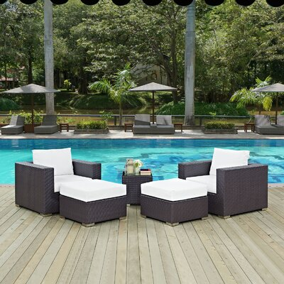 Ryele 5 Piece Outdoor Patio Sectional Set with Cushions Fabric: Espresso White