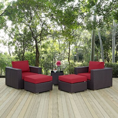 Convene 5 Piece Outdoor Patio Sectional Set with Cushions Fabric: Espresso Red