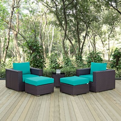 Ryele 5 Piece Outdoor Patio Sectional Set with Cushions Fabric: Espresso Turquoise