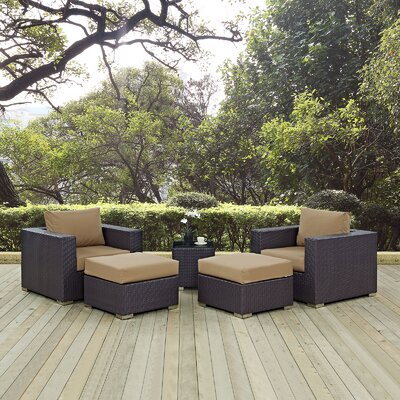 Ryele 5 Piece Outdoor Patio Sectional Set with Cushions Fabric: Espresso Mocha