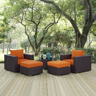 Ryele 5 Piece Outdoor Patio Sectional Set with Cushions Fabric: Espresso Orange