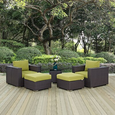 Ryele 5 Piece Outdoor Patio Sectional Set with Cushions Fabric: Espresso Peridot