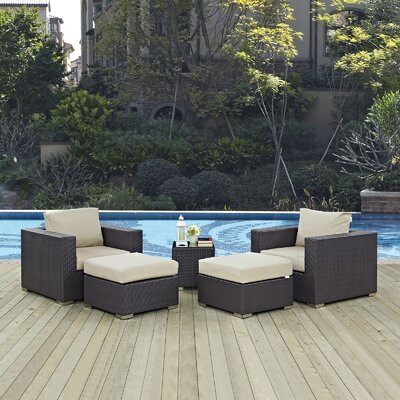 Ryele 5 Piece Outdoor Patio Sectional Set with Cushions Fabric: Espresso Beige
