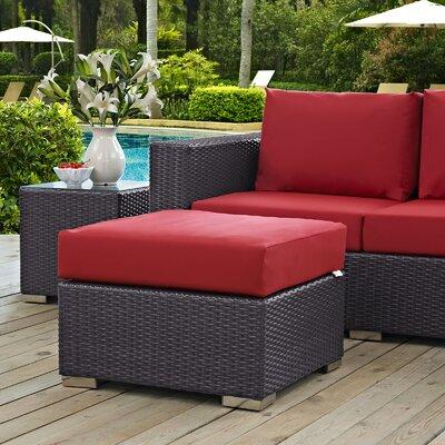 Convene Ottoman with Cushion Fabric: Red