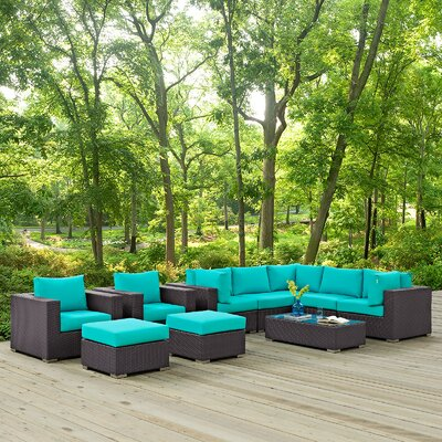 Ryele 10 Piece Deep Seating Group with Cushion Fabric: Turquoise