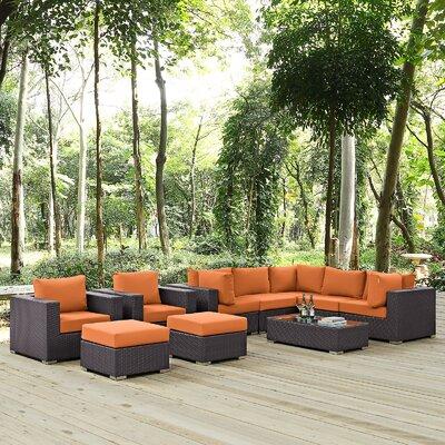 Ryele 10 Piece Deep Seating Group with Cushion Fabric: Orange