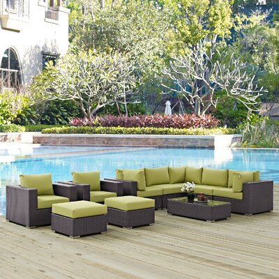 Ryele 10 Piece Deep Seating Group with Cushion Fabric: Peridot