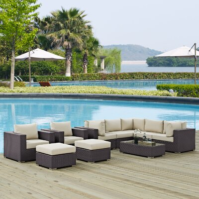 Ryele 10 Piece Deep Seating Group with Cushion Fabric: Beige