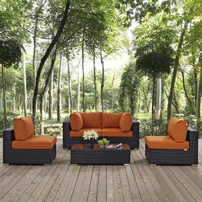Ryele 5 Piece Rattan Deep Seating Group with Cushion Fabric: Orange