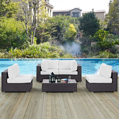 Ryele 5 Piece Rattan Deep Seating Group with Cushion Fabric: White