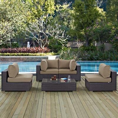 Ryele 5 Piece Rattan Deep Seating Group with Cushion Fabric: Mocha