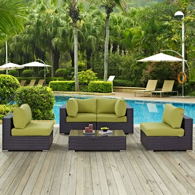 Ryele 5 Piece Rattan Deep Seating Group with Cushion Fabric: Peridot