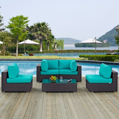 Ryele 5 Piece Rattan Deep Seating Group with Cushion Fabric: Turquoise