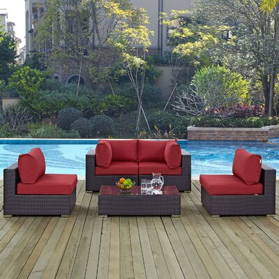 Ryele 5 Piece Rattan Deep Seating Group with Cushion Fabric: Red