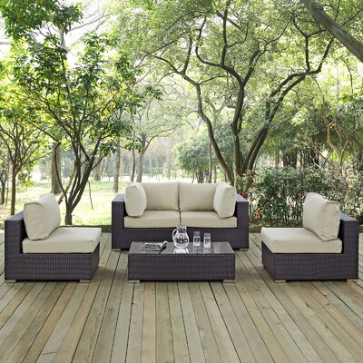 Ryele 5 Piece Rattan Deep Seating Group with Cushion Fabric: Beige
