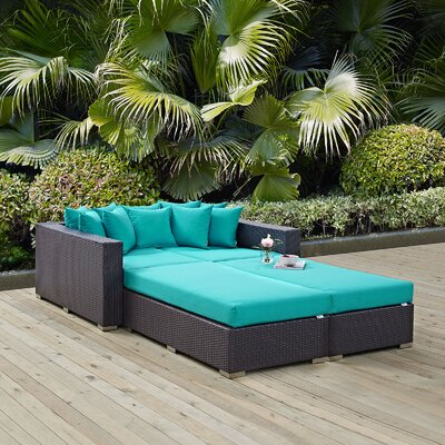 Ryele 4 Piece Wicker Patio Daybed with Cushions Fabric: Turquoise