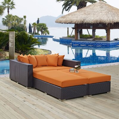 Ryele 4 Piece Wicker Patio Daybed with Cushions Fabric: Orange