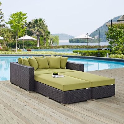 Ryele 4 Piece Wicker Patio Daybed with Cushions Fabric: Peridot