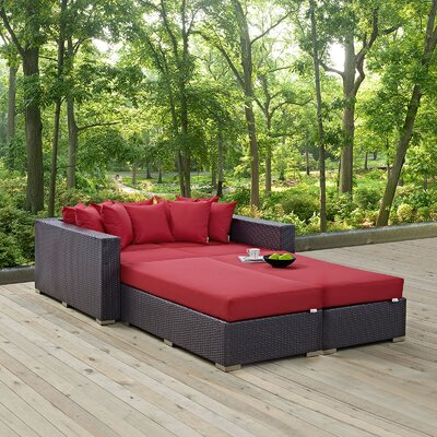 Ryele 4 Piece Wicker Patio Daybed with Cushions Fabric: Red