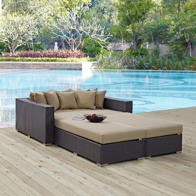 Ryele 4 Piece Wicker Patio Daybed with Cushions Fabric: Mocha