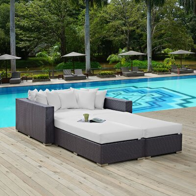Convene 4 Piece Patio Daybed with Cushions Fabric: White