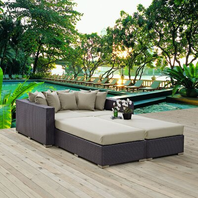 Convene 4 Piece Patio Daybed with Cushions Fabric: Beige