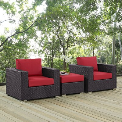 Ryele 3 Piece Deep Seating Group with Cushion Fabric: Red