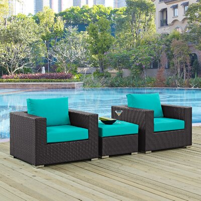 Ryele 3 Piece Deep Seating Group with Cushion Fabric: Turquoise