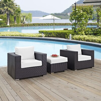 Ryele 3 Piece Deep Seating Group with Cushion Fabric: White