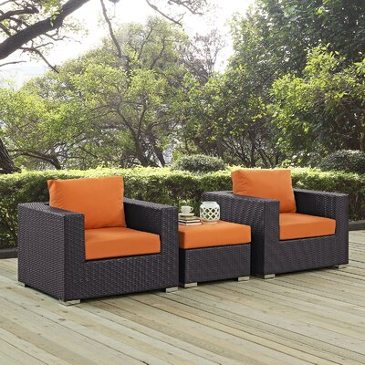 Ryele 3 Piece Deep Seating Group with Cushion Fabric: Orange