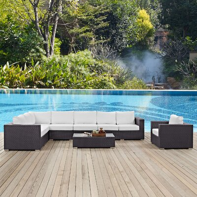 Ryele Contemporary 7 Piece Deep Seating Group with Cushion Fabric: White