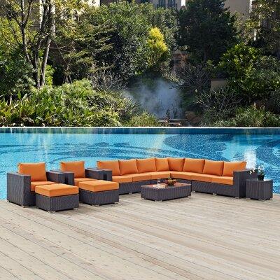 Convene 11 Piece Deep Seating Group with Cushion Fabric: Orange