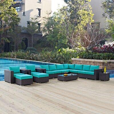 Ryele 11 Piece Deep Seating Group with Cushion Fabric: Turquoise