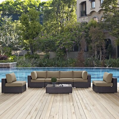 Ryele 7 Piece Deep Seating Group with Cushion Fabric: Mocha