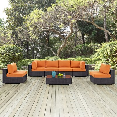 Convene 7 Piece Deep Seating Group with Cushion Fabric: Orange