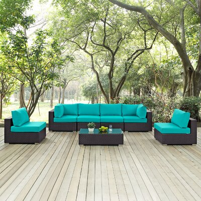 Ryele 7 Piece Deep Seating Group with Cushion Fabric: Turquoise
