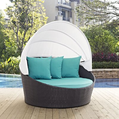 Ryele Canopy Outdoor Patio Daybed with Cushions Fabric: Espresso Turquoise