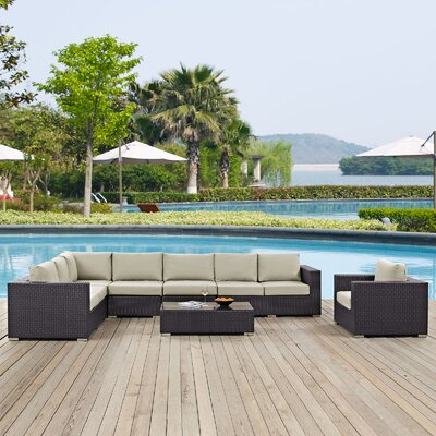 Ryele Outdoor 7 Piece Rattan Patio Seating Group with Cushions Fabric: Beige
