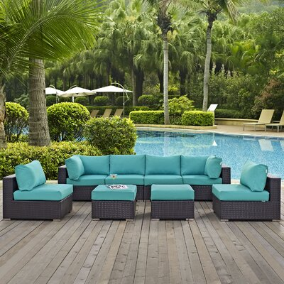 Ryele 8 Piece Aluminum Frame Outdoor Patio Sectional Set with Cushions Fabric: Espresso Turquoise