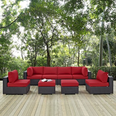 Ryele 8 Piece Aluminum Frame Outdoor Patio Sectional Set with Cushions Fabric: Espresso Red