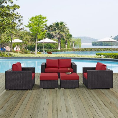 Ryele Outdoor 5 Piece Patio Seating Group with Cushions Fabric: Red